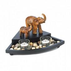 #10017224 CARVED ELEPHANT FAMILY CANDLE SET