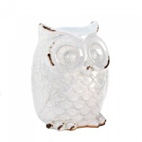 #10015684 - DISTRESSED WHITE OWL FIGURINE