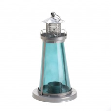 #10015433 BLUE GLASS WATCH TOWER CANDLE LAMP