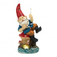 #10015672 FISHING GNOME SOLAR STATUE