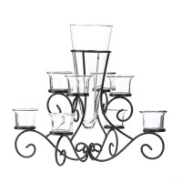 #10015370 SCROLLWORK CANDLE STAND WITH VASE