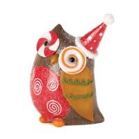 #10015455 SPARKLY HOLIDAY OWL DECOR